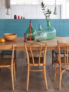 Ideas de #Comedor, Cocina, estilo #Contemporaneo color #Turquesa, #Marron, diseñado por Nimú, equipo de diseño #CajonDeIdeas