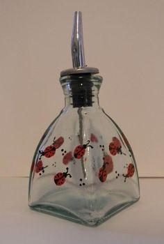 Lucky Ladybugs Hand Painted on a Diamond Shap by CustomGlassArt, $8.00