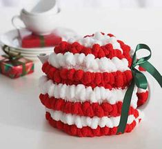 Holiday Tea Cozy by Bernat and other great last minute crochet gift ideas - all take less than 200 yds of yarn! Get the list at mooglyblog.com