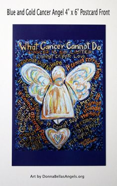 Blue & Gold What Cancer Cannot Do Angel Poem Art Painting -10 Postcards Pack by DonnaBellas Angels