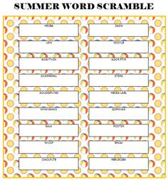 summer word scramble free printable printable games for kidsfree - Free Printable Games For Kids