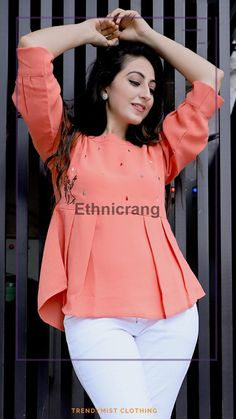 Dear Customers,  We are introducing ethnicrang new western top catalog   cloth :- imported autograph fabric  concept :-Embroidery pleate western top  Length :-23-24 inch long            Size:-S-36 M-38 L-40 Xl-42  SINGLE RATE-590/-WITH GST   🚛 : Dispatch :- ready to ship Happy selling...  Always with you...👍 Team ETHNICRANG THANKS SIR/MADAM.. #croptops #tops #girlstops #bottom #wearingclubtops #comboset #trustedseller #shoppingcentre #shoppingstore #discount #sale #girlswear #weari.. Stylish Tops, Stylish Girl, Girls Top Design, Gagra Choli, Western Tops, Club Tops, Pants For Women, Clothes For Women, Kurta Designs
