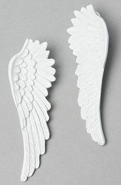 Wildfox The Angel Wings Earring in White Matte white angel wing earrings. By Wildfox Clay Art Projects, Polymer Clay Projects, Polymer Clay Art, Angel Wings Decor, Angel Wings Jewelry, Dove Tattoos, Wing Tattoos, Celtic Tattoos, Sleeve Tattoos