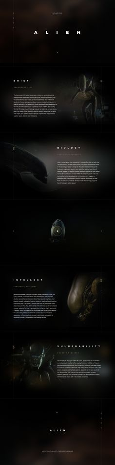 Concept website design for the Alien Movie with xenomorph descriptions