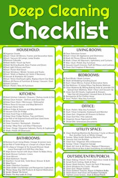 How To Deep Clean Your House - Free Cleaning Checklist Printable - Free deep cleaning checklist to print to help you deep clean your home (perfect for Spring Cleaning too! Cleaning Dust, Household Cleaning Tips, Cleaning Hacks, Diy Hacks, Deep Cleaning Tips, Moving Cleaning, Kitchen Cleaning, How To Clean Kitchen, Cleaning Supplies
