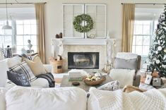 Christmas Neutral Family Room