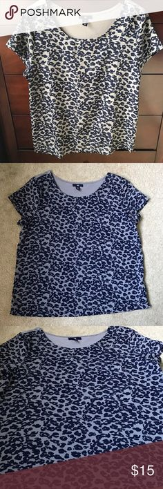 Leopard print blouse GAP leopard print grey and navy blue blouse. Size Large. 100% polyester. Worn a few times! In my opinion items from the gap fit big so this would also fit an XL. 😊 GAP Tops Blouses