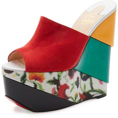 Christian Louboutin Carnababe Colorblock 150mm Wedge Red Sole Sandal ($895) ❤ liked on Polyvore featuring shoes and sandals