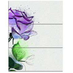 DesignArt 'Beautiful Blue Rose with Leaves' 3 Piece Graphic Art on Wrapped Canvas Set