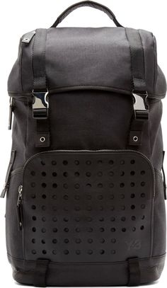 Y-3 Black Toile Hiker Backpack
