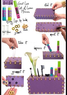 This is a cute way to store your makeup! You can also decorate it to make it look really pretty, or cool, or fancy!