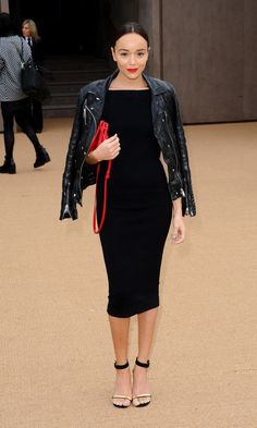 Ashley Madekwe in a leather jacket and LBD