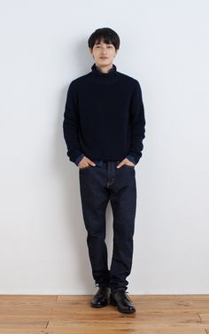 MUJI | LESS ITCHINESS MIDDLE GAUGE RIB TURTLE NECK SWEATER | ORGANIC COTTON BROAD WASHED SHIRT | ORGANIC DENIM TAPERED JEANS
