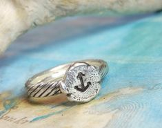 Nautical Jewelry Tiny Anchor Ring Anchor Jewelry by HappyGoLicky