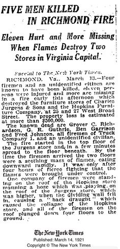 5 Killed in 1921 Hopkins Furniture Store fire. Four of the five were firemen.