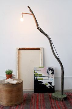 DIY lamp from DesignSponge: http://www.designsponge.com/2012/10/diy-project-fallen-branch-floor-lamp.html