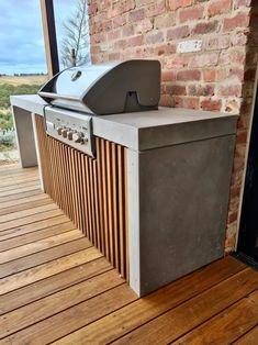 Outdoor Bbq Kitchen, Outdoor Barbeque, Outdoor Kitchen Design, Brick Design, Concrete Design, Concrete Front Steps, Timber Battens, Concrete Kitchen, Back Garden Design