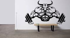 Shop for bodybuilding on Etsy, the place to express your creativity through the buying and selling of handmade and vintage goods. Gym Qoutes, Crossfit, Home Gym Garage, Art Decor, Room Decor, Gym Logo, Removable Wall, Sports Logo, Vinyl Wall Decals