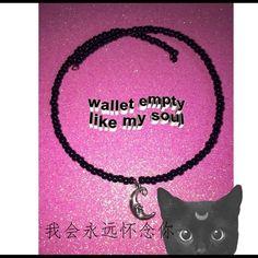 dArkZ mOoN cHokEr✨ Custom made black beaded choker with moon charm no clasp needed so fits any1 Moongypsy Jewelry Necklaces