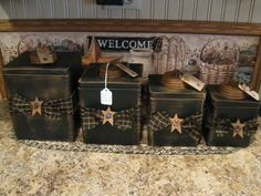 primitive country kitchens, country primitive, kitchen canisters, craft idea, star, countri treasur, primitive ideas, primitive canisters, primitive kitchen ideas