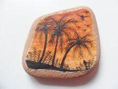 Palm trees  Miniature art on English sea pottery by Alienstoatdesigns, $15.00