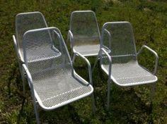 Vintage Mid Century Modern Eames Era Set Of 4 Wrought Iron Patio Lawn Chairs