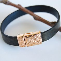 Bronze Leather Bracelet with Rose Gold Clasp Embossed Clasp Pink Gold Jewelry Stackable Leather Bracelet Leather Bangle Magnetic Clasp by ElektraJewelry on Etsy