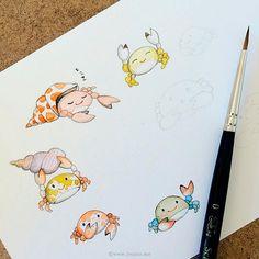 5 out of 9 crabs. Watercolor and pencil.   da {JooJoo}
