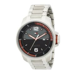 Tommy Hilfiger Men's 1790713 Sport Stainless Steel Case and Bracelet Watch Tommy Hilfiger. $115.00. Black and red dial with arabic numerals and stainless steel bezel. Case diameter: 46 mm. Stainless steel case and bracelet. Water-resistant to 165 feet (50 M). Quartz movement with date feature