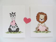nursery décor, watercolor painting, baby safari animals, original painting, kids wall art, baby animal print, pink hearts - My newest childrens