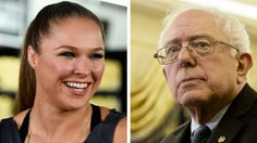 """UFC women's champion Ronda Rousey backs Bernie Sanders.""""I'm voting for Bernie Sanders, because he doesn't take any corporate money,"""" she said."""
