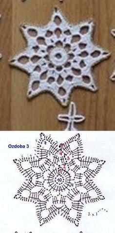 Ela Klementowicz's media content and analytics Crochet Snowflake Pattern, Crochet Stars, Crochet Snowflakes, Love Crochet, Crochet Motif, Crochet Doilies, Crochet Patterns, Crochet Buttons, Thread Crochet