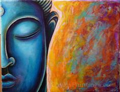 Step Face is beginning to look smooth with blended colors and the background is filling up with many different layers of colors. Canvas Prints, Framed Prints, Art Prints, Buddha Face, Buddha Painting, Step By Step Painting, Unique Art, Fine Art America, Wall Art