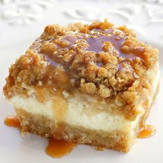 Easy Caramel Apple Cheesecake Bars... click...