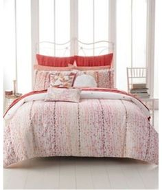 New NWT Style & CO Twin Duvet Comforter Cover Set 2PC white embroidered red l xl