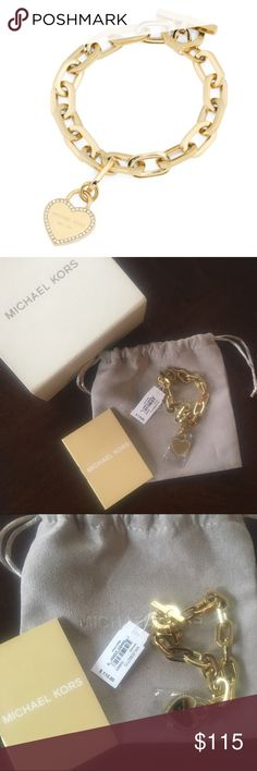 ✨NWT✨ Michael Kors Gold Heart Logo Toggle Bracelet NWT! Authentic Michael Kors gold tone crystal heart logo toggle bracelet. Fits up to an 8 inch wrist. Comes with box, dust bag, and care booklet. ***No Trades*** MICHAEL Michael Kors Jewelry Bracelets
