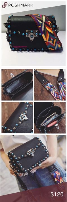 🎉1️⃣LEFT🎉 NWOT Garavani Rockstud bag New Boutique shoulder bag, no mark, no brand. Rockstud Guitar Strap faux leather bag. Main Material: faux leather. Measurements: 19*9*15 cm.❗I Love💕 Valentino Rockstud Bag💕❗not Z A R A❗ Zara Bags Shoulder Bags