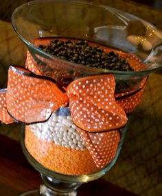 Fall Decorating with Hurricane Vases (black beans, white northern beans and red lentils)