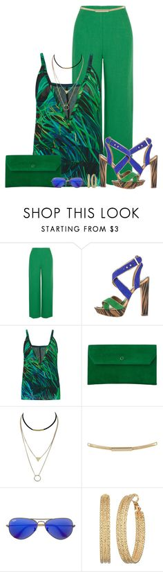 """Blue and Green"" by marion-fashionista-diva-miller ❤ liked on Polyvore featuring Isa Arfen, BCBGMAXAZRIA, Elie Saab, L.K.Bennett, Topshop, Ray-Ban, GUESS, contestentry and blueandgreen"