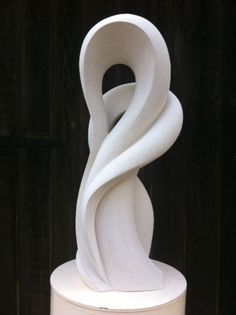 Hand carved marble/mineral stone Abstract Loop sculpture / statue / statuette #sculpture by #sculptor Jo Ansell titled: 'JuJu' #art