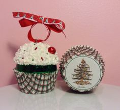 Christmas Cupcake Ornament  O Christmas by PrettyWittyCupcakes