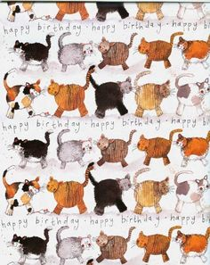 Cats Happy Birthday Gift Wrapping Paper Alex Clark