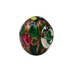 Gorgeous Green Hand Painted Murano Glass Bead