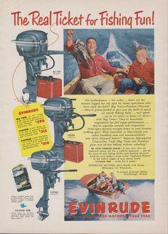"""1951 EVINRUDE """"BIG TWIN"""" 25 HP OUTBOARD MOTOR AD - w/ FASTWIN & FLEETWIN, TOO!"""