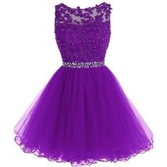 Adorable knee-length tulle prom dress, short homecoming dress purple, fs8334