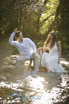 bride and groom in the middle of the Big Sur river  © PhotographybyMonique.com