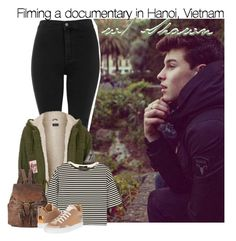 """""""Filming a documentary in Hanoi, Vietnam with Shawn"""" by rowenafsouriya ❤ liked on Polyvore featuring Topshop, TIBI, Forever 21 and MM6 Maison Margiela"""