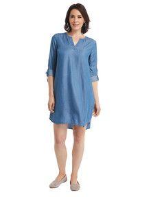 Ella J Roll-Up Sleeve Dress, Blue Denim product photo Roll Up Sleeves, Women's Fashion Dresses, Dress For You, Dresses Online, Blue Denim, Dresses With Sleeves, Womens Fashion, Casual, Shopping