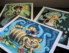 Diana Levin FANTASY ART PRINTS - Alice in Wonderland 3 print Set - Alice , Cheshire Cat and Queen of Hearts