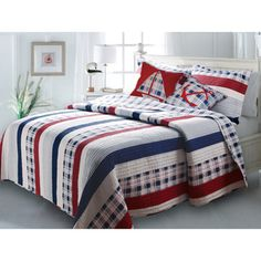 Nautical Stripes 3-piece Quilt Set - Overstock Shopping - Great Deals on Quilts